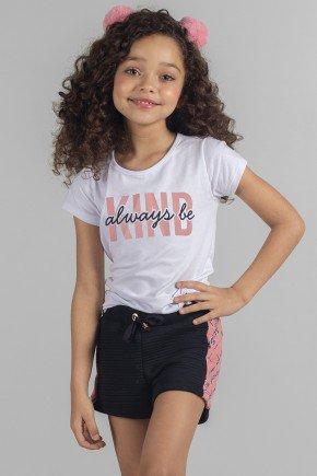 conjunto moda infantil feminino menina bugbee moletom shorts 7051cj